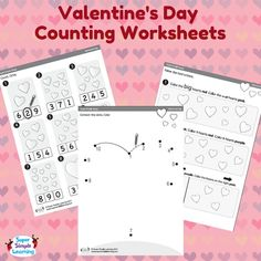 Valentine's Day Counting Worksheets from Super Simple Learning. #prek #kindergarten #ece