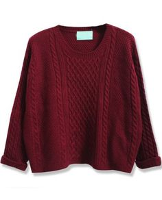 Wine Red Batwing Long Sleeve Cable Knit Sweater pictures
