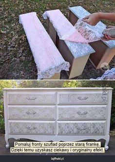 Shabby chic furniture dresser with lace spray paint design Home Decor, DIY Home Decor Furniture Projects, Furniture Makeover, Diy Furniture, Diy Projects, Furniture Design, Lace Painted Furniture, Stenciling Furniture, Dresser Furniture, Furniture Dolly