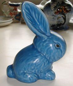 Blue Sylvac pottery rabbit
