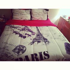 My new Paris bedspread from Anna's Linen. (Pink sheets are from Target)