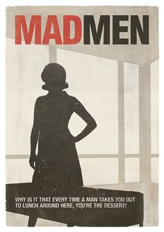 """Mad Men; TV Show Inspired Poster, Peggy Olson Minimalist Illustration Poster.   """"Mad Men"""" is not just a men's show so... this print features the silhouette of one of its biggest female characters, Peggy Olson, standing in front of the big windows of the office."""