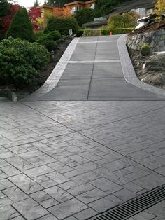 Stamped Texture Concrete Patio Gray With Black Grey
