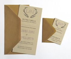 Rustic Antler Winter Woodland Wedding Invitation, recycled paper, STNstationery shop, $2/invitation including envelope. $300 for 150 + info cards $2/each