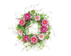 Melrose International Shades of Pink 26-Inch Diameter Gerbera Daisy Wreath with Small White Flower and Ivy Winding Throughout by Melrose Inter, http://www.amazon.com/dp/B004K6LIKG/ref=cm_sw_r_pi_dp_9NNkrb02BNSGA