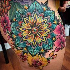 Mandala and Orchids - Rich Wren @0ncoming_storm - Horsham, PA #tattoo #tattooartist #tattwho #ink #inkedlife #inkedlifestyle #tattoos #tattooart #artist #mandala #orchid #flower #geometrictattoo #horsham #pa #pennsylvania