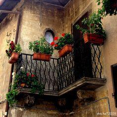 Italy ~ Balcony in Scanno ~ , Italy, province of L'Aquila , Abruzzo