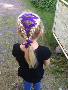 two dutch braids with ribbon