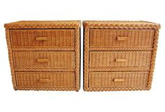 Rattan Chests of  Drawers, Pair