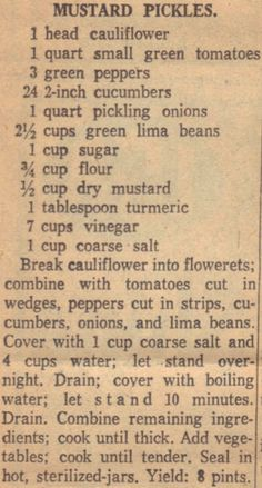 Vintage Recipe Clipping For Mustard Pickles Retro Recipes, Old Recipes, Canning Recipes, Vintage Recipes, Cookbook Recipes, Vintage Food, Canning Pickles, Pickles Recipe, Mustard Pickles