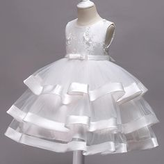 Girls Summer Outfits, Little Girl Dresses, Kids Outfits, Girls Dresses, Flower Girl Dresses, White Frock, White Floral Dress, Dress Anak, Sleeves Designs For Dresses