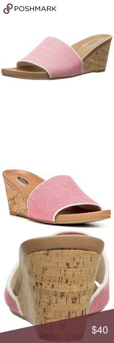 Dr Scholls Lonny Red Wedge Slide Sandals | NWOT New (without box) Dr. Scolls wedge slides. Short ~2 in. wedge provides ultimate comfort and support. Beautiful cork detailing. Super lightweight and comfy! A perfect addition to your shoe collection! Shoes Wedges