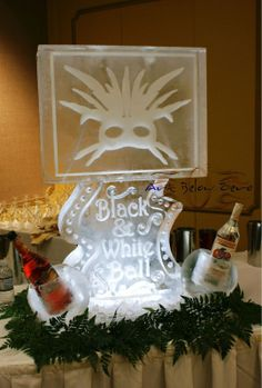 White Mask Double Luge Ice Sculpture
