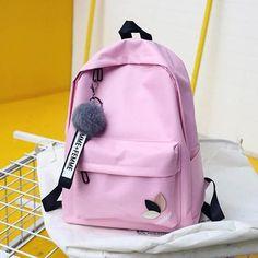 Fashion fur ball girl backpack for women 2018 teenage schoolbag College  wind High school student nylon printing back pack bag 402873b7c19fe