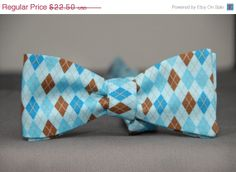HeckofitSale Blues and Brown in Argyle Bow Tie by PinchAndPull, $20.25