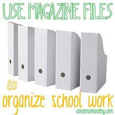 Use magazine files to organize school work  #Organization #College #Students