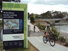 Te Ara Tahuna Estuary Cycleway by ibikenz, via Flickr Auckland Activities, Bike Path, New Zealand, Trip Advisor, Island, City, Travel, Cycling, Spaces