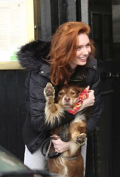 Poldark star Eleanor Tomlinson enjoys leisurely walk with her pet dog #dailymail
