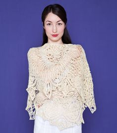 My favorite summer pattern: Elysium by Janel Laidman found on Twist Collective. Knitted Shawls, Crochet Shawl, Knit Crochet, Lace Shawls, Knit Lace, Lace Knitting, Knitting Patterns, Crochet Patterns, White Shawl