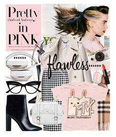 """""""Pretty in punk"""" by cutandpaste ❤ liked on Polyvore featuring Burberry, Nly Shoes, Avon, See by Chloé, GUESS, Essie, Retrò, Urban Outfitters and NARS Cosmetics"""