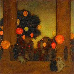 ☂ Paper Lanterns and Parasols ☂ Japonisme Art and Illustration - Maxfield Parrish   Lanterns at Twilight