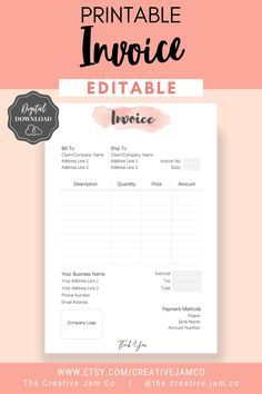 Invoice Template Order Form Editable Custom Receipt Template Etsy Invoice Design Template Receipt Template Invoice Template