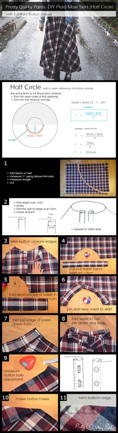 diy plaid maxi skirt - instructions - full post up on Pretty Quirky Pants