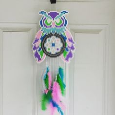 Owl dreamcatcher perler beads  by burritoprincess - Pattern: https://www.pinterest.com/pin/374291419009094606/