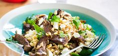 Warm beef, feta and brown rice salad recipe Brown Rice Salad, Beef Salad, Cress, Tzatziki, Tray Bakes, Asparagus, Feta, Dinner Recipes, Pumpkin