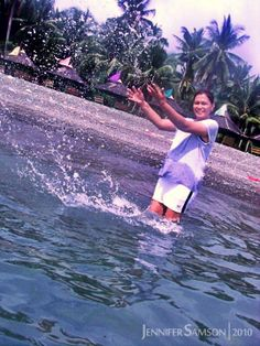 Mom enjoying a splash at the beach. Zamboanga City, Resort Villa, Seas, Philippines, Mom, Places, Outdoor Decor, Travel, Voyage