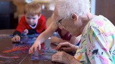 Preschool housed in a retirement home offers children.....I am IN LOVE with this idea. How perfect....they each learn from one another and share a facility. That is a wonderful mix!