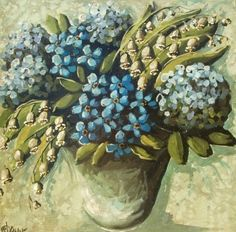 jennifer lanne paintings | am i blue / painting by Jennifer Lanne...love the blooms...and the ...