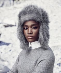Jamaican model Francine James for the Åhléns campaign in Stockholm. Lady In My Life, Fur Accessories, Cold Weather Fashion, Portraits, Best Black, Ebony Beauty, Black Women Fashion, The Chic, Black Is Beautiful