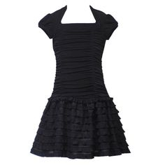 Rare Editions TWEEN GIRLS 7-16 BLACK RUCHED MULTI TIERED DROP WAIST KNIT Special Occasion Wedding Flower Girl Party Dress $36.95