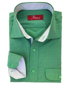 Green Chambre Dress Shirt with grey micro check accents