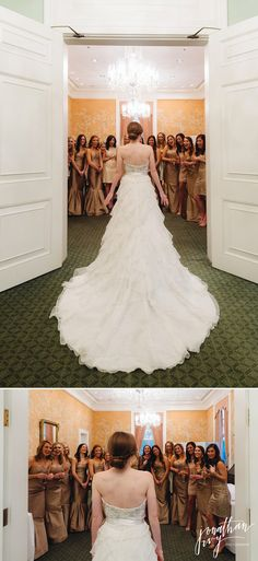 Wedding Dress reveal to bridesmaids    Bridal Gown   Bridesmaids first look   Photography by Jonathan Ivy