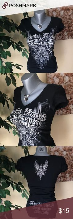 Myrtle Beach Bike Rally Graphic Tee Rhinestones rock this tee!  Cotton spandex blend make up this extra long tee for super comfort and ridability.  Yes!  I just made that word up- but ladies you know what I am talking about!  Black, cream and grey.  Worn 1x.  Smoke free home Tops Tees - Short Sleeve