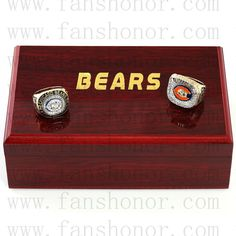 Chicago Bears NFL Championship Rings Set Wooden Display Box Collections - Football