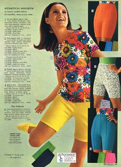 Sears polyester stretch shorts,1968          REMEMBERING MY MOM WEARING THESE WITH ALL COLORS !!!!!