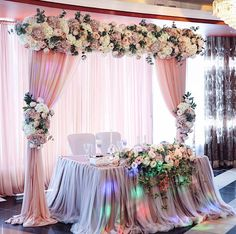 Love this Bride & Groom table- Substantial floral garland with matching tie back bouquets Wedding Table Decorations, Decoration Table, Wedding Themes, Wedding Designs, Wedding Stage, Diy Wedding, Rustic Wedding, Dream Wedding, Gold Wedding Colors