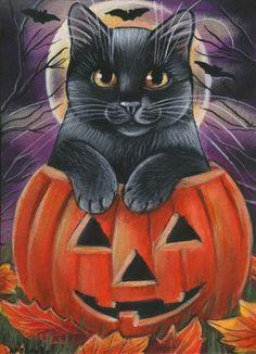 Diamond Painting Black Cat Jack-o-Lantern Kit Offered by Bonanza Marketpla. Retro Halloween, Halloween Rocks, Halloween Pictures, Halloween Themes, Fall Halloween, Happy Halloween, Cat Pumpkin, Halloween Painting, Images Wallpaper