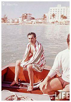 Mohamed Reza Pahlavi At Miami Beach 1955