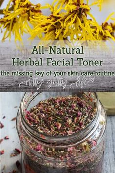 Facial toners are an often overlooked part of a good skincare regime. This all natural homemade toner with witch hazel, aloe, vegetable glycerin and soothing herbs is moisturizing and can be adjusted to suit any skin type! #homemadeskincare #diyskincare #toner #natural #skincare #herbs Natural Cures, Natural Healing, Natural Skin Care, Natural Beauty, Natural Treatments, Natural Foods, Natural Toner, Natural Oil, Holistic Healing