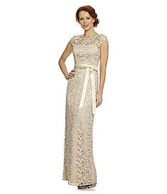 White and Gold Wedding. Gold Bridesmaid Dress. Soft and Romantic. Adrianna Papell CapSleeve Lace Dress #Dillards $240