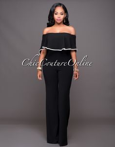 Chic Couture Online - Jacqueline Black Off-White Trim Cape Jumpsuit, $60.00 (http://www.chiccoutureonline.com/jacqueline-black-off-white-trim-cape-jumpsuit/)