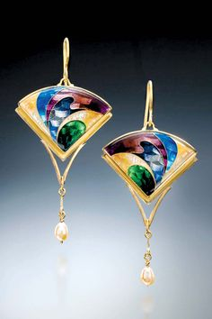 "Sheila Beatty, Untitled, earrings, cloisonné, guilloche enamel, fine silver, 24kt gold, 18kt gold, fresh water pearls, 2.25"" x 1.125"""