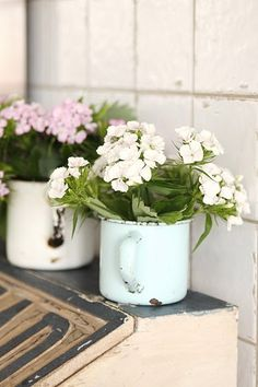 enamel ware cups, i love enamel ware in the garden!