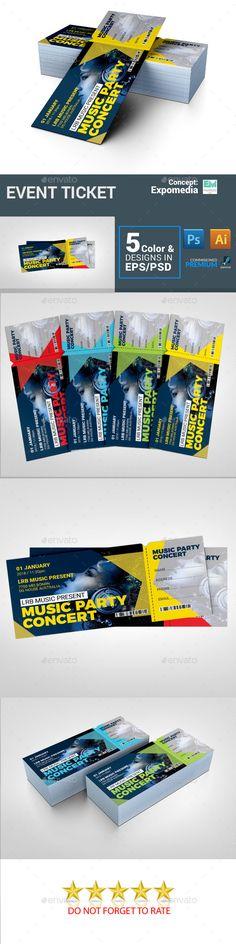 Concert #Ticket - Cards & Invites Print Templates