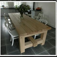 Eettafel Farmhouse Dining Room Table, Slab Table, Concrete Table, Wooden Dining Tables, Dinning Table, Wood Table, Pallet Furniture, Furniture Projects, Rustic Furniture