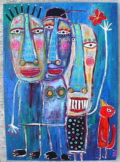 """""""Sunday Family Stroll"""" created on a found piece of MDF board...by Tracey Ann Finley."""